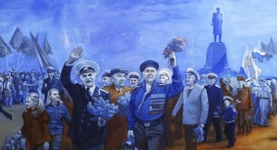 Военнослужащий Черноморского флота работает над картиной, посвященной 75-летию Великой Победы
