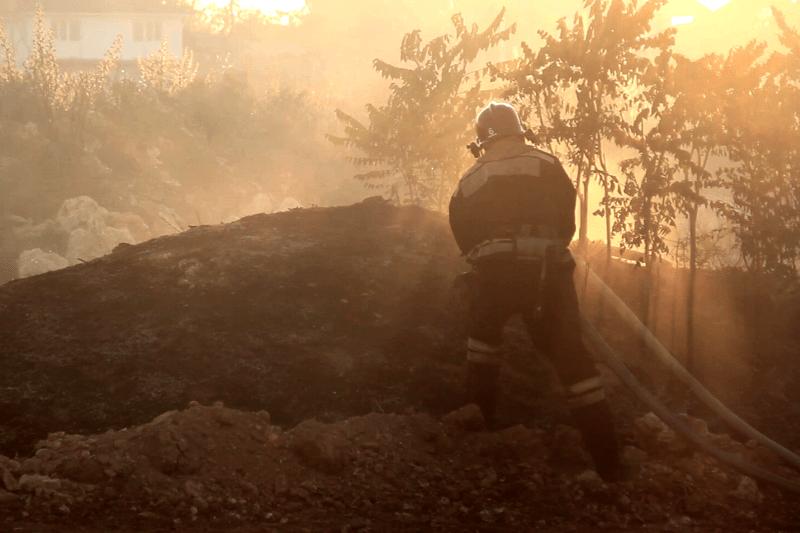 Севастопольские огнеборцы ликвидировали пожар в районе садоводческого товарищества «Сокол»